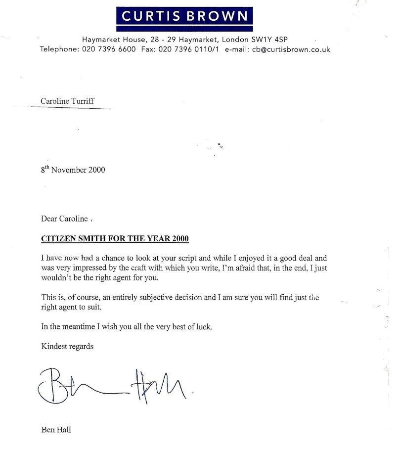 Ben Hall CEO of top London literary agency Curtis Brown writes me very positive letter about my comedy script