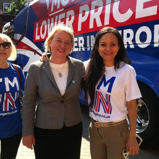 Myself Caroline Turriff and the Green Party Leader Natalie Bennett at a rally for Britain Stronger in Europe involving the Prime Minister David Cameron the Leader of the Liberal Democrats Tim Farron and senior Labour figure Harriet Harman